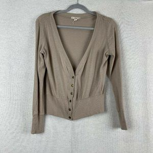 color story tan button half button cardigan tan si